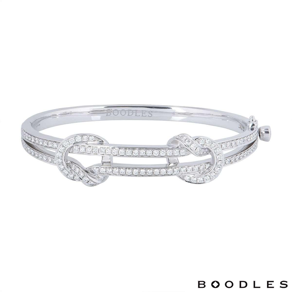Boodles White Gold The Knot Diamond Bangle Rich Diamonds